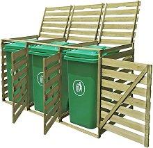 vidaXL Cobertizo triple de contenedor de basura