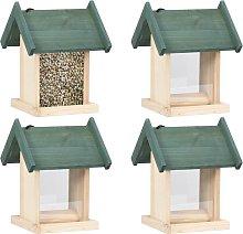 vidaXL Comederos para pájaros 4 unidades madera