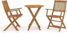 vidaXL Comedor de jardín plegable 3 piezas madera