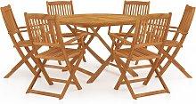 vidaXL Comedor de jardín plegable 7 piezas madera
