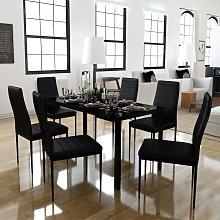 vidaXL Conjunto de mesa de comedor siete piezas