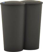 vidaXL Cubo de basura doble negro 50 L