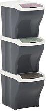 vidaXL Cubos de basura apilables 3 piezas gris