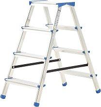 vidaXL Escalera de aluminio doble cara 4 peldaños