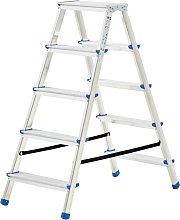 vidaXL Escalera de aluminio doble cara 5 peldaños
