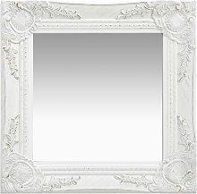 vidaXL Espejo de pared estilo barroco blanco 40x40