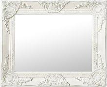 vidaXL Espejo de pared estilo barroco blanco 50x40