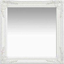 vidaXL Espejo de pared estilo barroco blanco 60x60