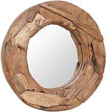 vidaXL Espejo decorativo de teca 60 cm redondo