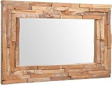 vidaXL Espejo decorativo de teca 90x60 cm