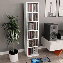 vidaXL Estantería para CDs de aglomerado blanco