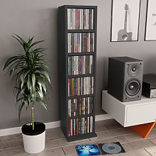 vidaXL Estantería para CDs de aglomerado gris