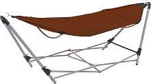 vidaXL Hamaca con soporte plegable marrón