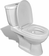 vidaXL Inodoro WC con Cisterna Blanco - Blanco