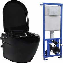 vidaXL Inodoro WC de pared sin bordes cisterna