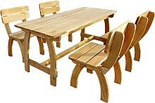 vidaXL Juego de comedor de jardín 5 piezas madera