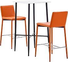 vidaXL Juego de mesa alta y taburetes 3 pzas cuero
