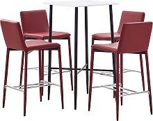vidaXL Juego de mesa alta y taburetes 5 pzs cuero