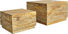vidaXL Juego de mesa de centro 2 piezas de madera