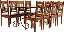 vidaXL Juego mesa comedor 9 piezas madera de