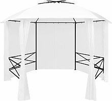 vidaXL Marquesina de jardín con cortinas blanca