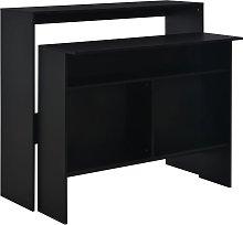 vidaXL Mesa alta de cocina con 2 encimeras negra