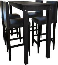 vidaXL Mesa alta de cocina con 4 sillas de barra