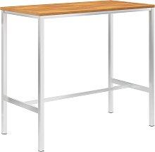 vidaXL Mesa alta de cocina madera acacia acero