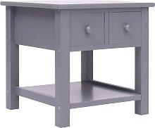 vidaXL Mesa auxiliar madera de Paulownia gris