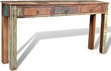 vidaXL Mesa consola con 3 cajones de madera