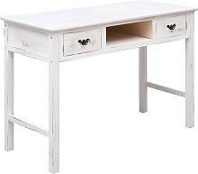 vidaXL Mesa consola de madera blanco antiguo