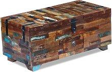 vidaXL Mesa de centro cofre de madera maciza