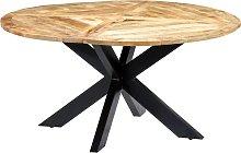 vidaXL Mesa de comedor redonda de madera maciza de