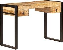 vidaXL Mesa de escritorio 2 cajones  madera maciza