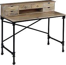 vidaXL Mesa de escritorio madera de mango maciza y