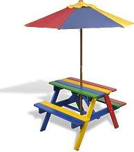 vidaXL Mesa de picnic y bancos de niños y