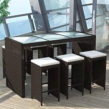 vidaXL Mesa y sillas bar de jardín 7 pzas y