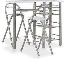 vidaXL Mesa y taburetes de cocina y estantes de