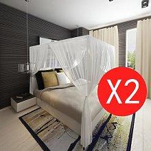 vidaXL Mosquitera para cama cuadrada 3 aberturas 2