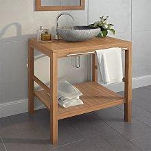 vidaXL Mueble de lavabo tocador madera teca maciza