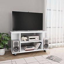 vidaXL Mueble de TV con ruedas aglomerado blanco
