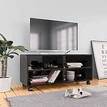 vidaXL Mueble de TV con ruedas aglomerado negro