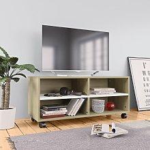 vidaXL Mueble para TV con ruedas aglomerado blanco