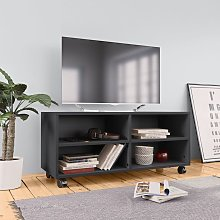 vidaXL Mueble para TV con ruedas aglomerado gris