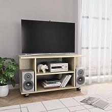 vidaXL Mueble para TV con ruedas aglomerado roble