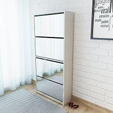 vidaXL Mueble zapatero 4 cajones con espejo blanco