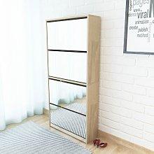 vidaXL Mueble zapatero 4 cajones con espejo roble