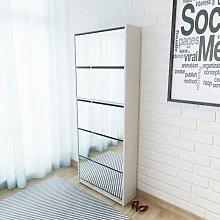 vidaXL Mueble zapatero 5 cajones con espejo blanco