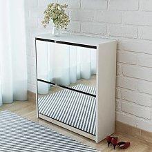 vidaXL Mueble zapatero blanco 2 compartimentos con