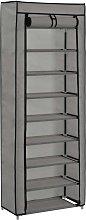 vidaXL Mueble zapatero de tela con funda gris